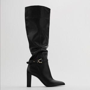 NWT. Zara Black Extra Tall Heeled Leather Boots. Size 7,5. 8.